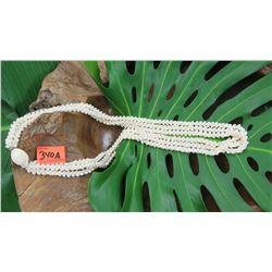 "Niihau Shell Lei - 3 Strands, 41"" Momi Ke'oke'o (White ""Dove Shells""), Pikake Lei Style"