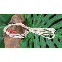 "Niihau Shell Lei - 3 Strands, 40"" Momi Kua'ula (Grooved ""Dove Shells""), Pikake Lei Style"