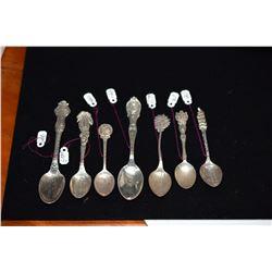 """7 Sterling Silver Hawaiian Motif Souvenir """"Honolulu"""" & """"Diamond Head"""" Spoons"""" (one marked H. Culman0"""