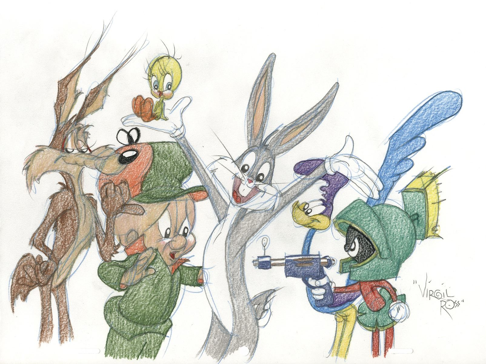 Image 1 virgil ross original drawing of warner bros characters