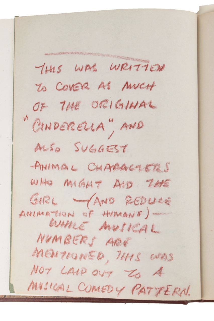 Walt Disney's personal Cinderella script with hand written