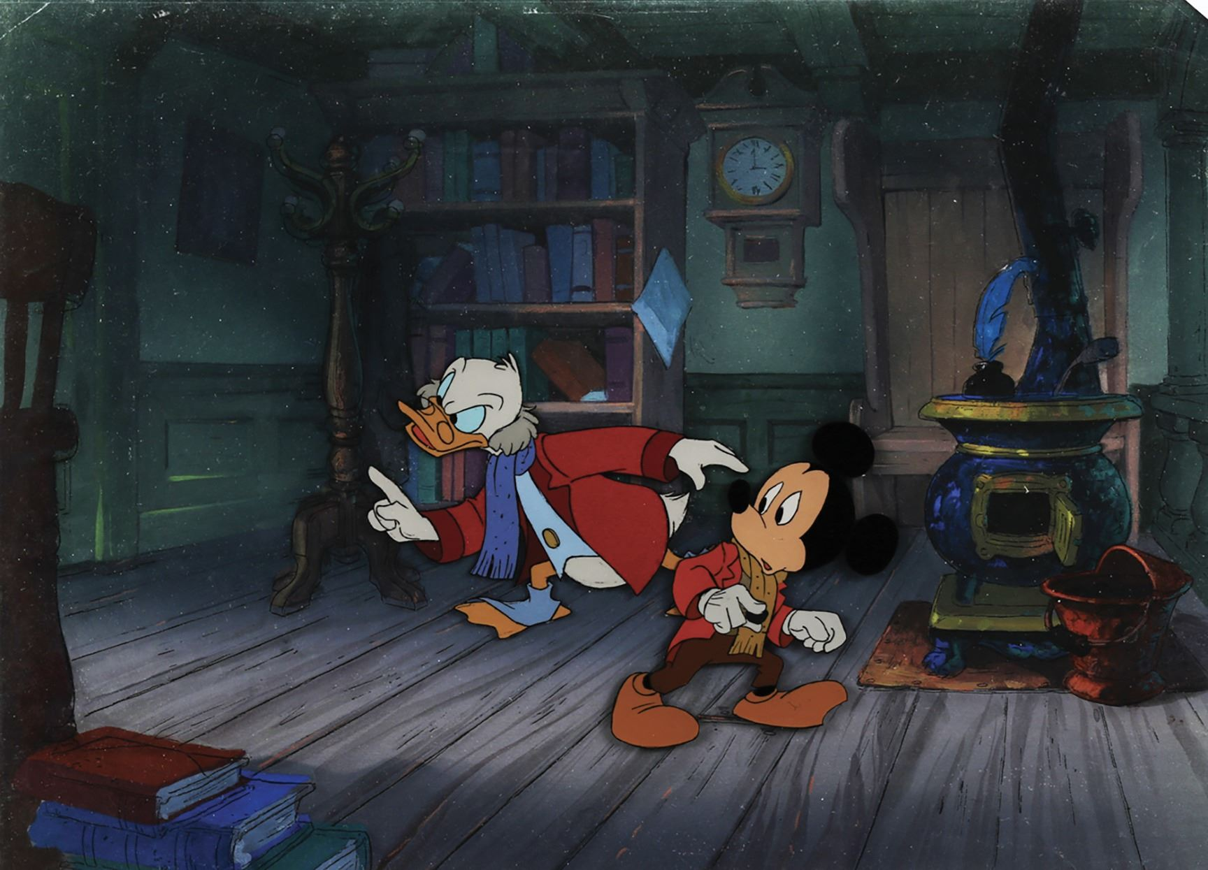 Mickey Mouse A Christmas Carol.Scrooge Mcduck And Mickey Mouse Production Cels