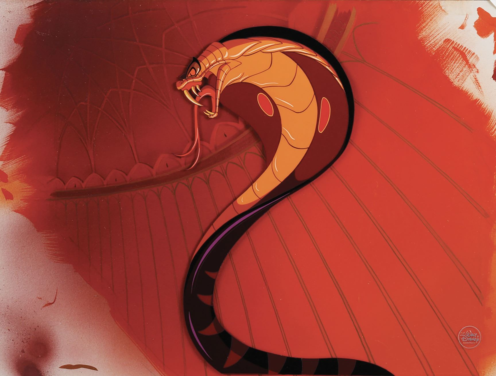 Jafar as a snake studio prepared cel on a matching production background from aladdin - Serpent aladin ...