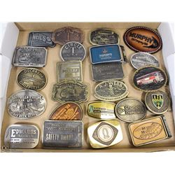 COLLECTION OF 23 OILFIELD AND TRUCKING BUCKLES
