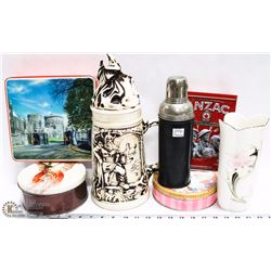 FLAT OF VINTAGE  AND COLLECTIBLES INCL THERMOS,