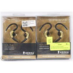 2 PAIRS OF KEEKA SPORT HEADPHONES WITH MICROPHONE