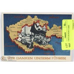 NAZI WWII HITLER POST CARD