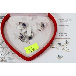 4PC STAMPED .925 SILVER SET WITH NATURAL SAPPHIRE