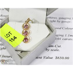 14K YELLOW GOLD PINK SAPPHIRES & DIAMOND TWISTED