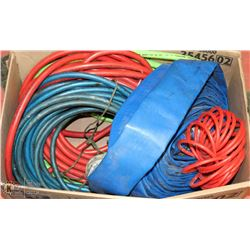 BOX OF ASSORTED AIR HOSES , WATER HOSE