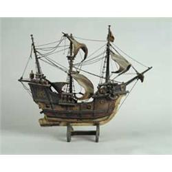 Wood Ship Model Of The Santa Maria