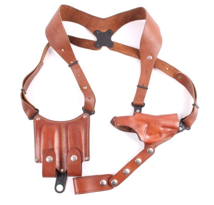 Vintage Galco Leather Shoulder Holster & Mag Pouch