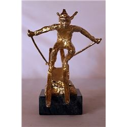 She Comes Into View - Gold over Bronze Sculpture - after Dennis Smith