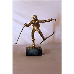 Christmas Skis  - Gold over Bronze Sculpture - after Dennis Smith