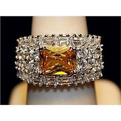 Fancy Golden Lab Sapphire & White Topaz SS  Ring. (740L)