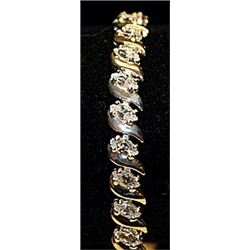 Fancy Russian Cubic Zirconia Sterling Silver Bracelet.