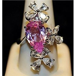 Gorgeous Pink Lab Sapphires & White Topaz SS Ring. (546L)