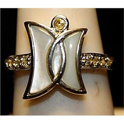 Fancy Moons White Topaz Sterling Silver Ring. (535L)