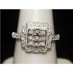 Very Fancy Silver Ring with Diamonds (106I)