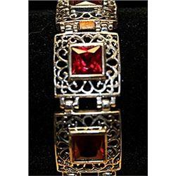 Fancy Rose Garnets SS Bracelet.