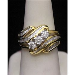 Lady's Beautiful 14kt over Silver Ring with Cluster Diamonds & Baguettes (176I)