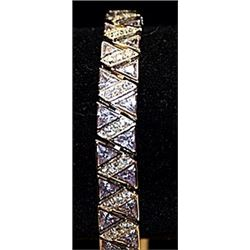 Gorgeous White Topaz Sterling Silver Bracelet.