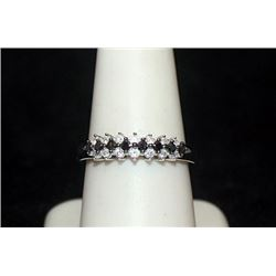 Beautiful Silver Ring with Black & White Diamonds (90I)