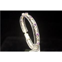 Fancy Ruby Rhodolites Silver Bracelet