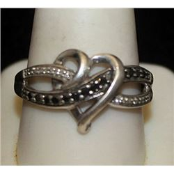 Lady's Fancy Silver Heart Shape Ring with Black Diamonds (121I)