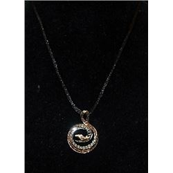 Fancy Silver Snake Shape Necklace with Golden Sapphires & Diamonds (91I)