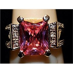 Beautiful Pink Lab Sapphire with Diamonds SS Ring. (525L)