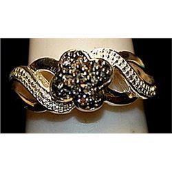 Beautiful Balck & White Diamonds SS Ring. (172L)