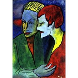 Lovers - Oil on Paper - Emile Nolde