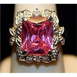 Beautiful Pink Sapphire & White Topaz SS Ring. (758L)