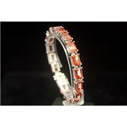 Dazzling Orange Red Tourmaline Silver Bracelet