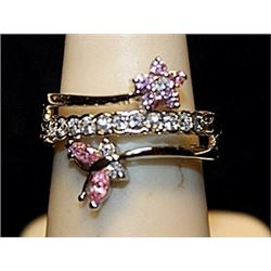 Beautiful Pink Sapphires & White Topaz SS Ring. (542L)