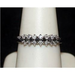 Beautiful Silver Ring with Black & White Diamonds (88I)