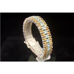 Lavish Golden Sapphire & Blue Topaz Silver Bracelet