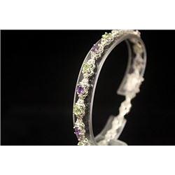 Dazzling Amethyst & Topaz Silver Bracelet
