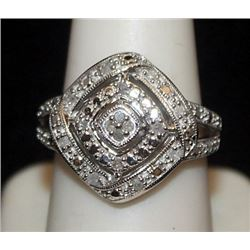 Lady's Fancy Silver Ring with Diamonds (80I)