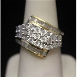 Fancy 14kt over Silver Ring with Diamonds (158I)
