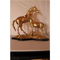 Stallion and Pony - Gold over Bronze Sculpture -  after SPI