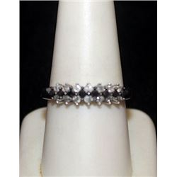 Beautiful Silver Ring with Black & White Diamonds (86I)