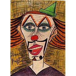 Clown - Pastel Drawing on Paper -Bernard Buffet