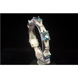 Fine Topaz & Diamonds Silver Bracelet