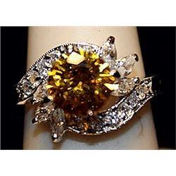 Fancy Golden Lab Sapphire & White Topaz SS Ring. (510L)