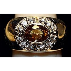 Fancy Yellow Sapphire & white Topaz SS Ring. (160L)