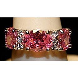 Gorgeous Pink Lav Sapphire & White Topaz SS Ring. (540L)
