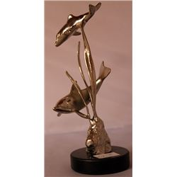 Dolphins II - Silver Sculpture with Marble Base