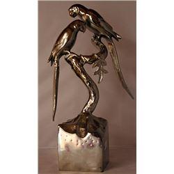 Parrot Pals - Silver Sculpture